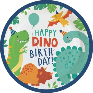 Paprové talířky - Dino Happy Birthday (23cm)
